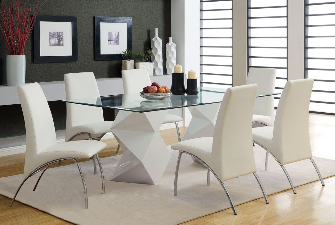 D313 Modern Dining Room Set In White Lacquer Finish: 7 Pc. Halawa I Collection Contemporary Style White Finish