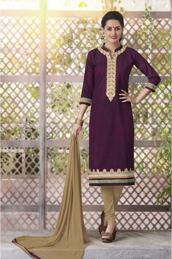 65a677e8b Ethnic Wear Readymade South Cotton Purple Salwar Suit - 20093 ...