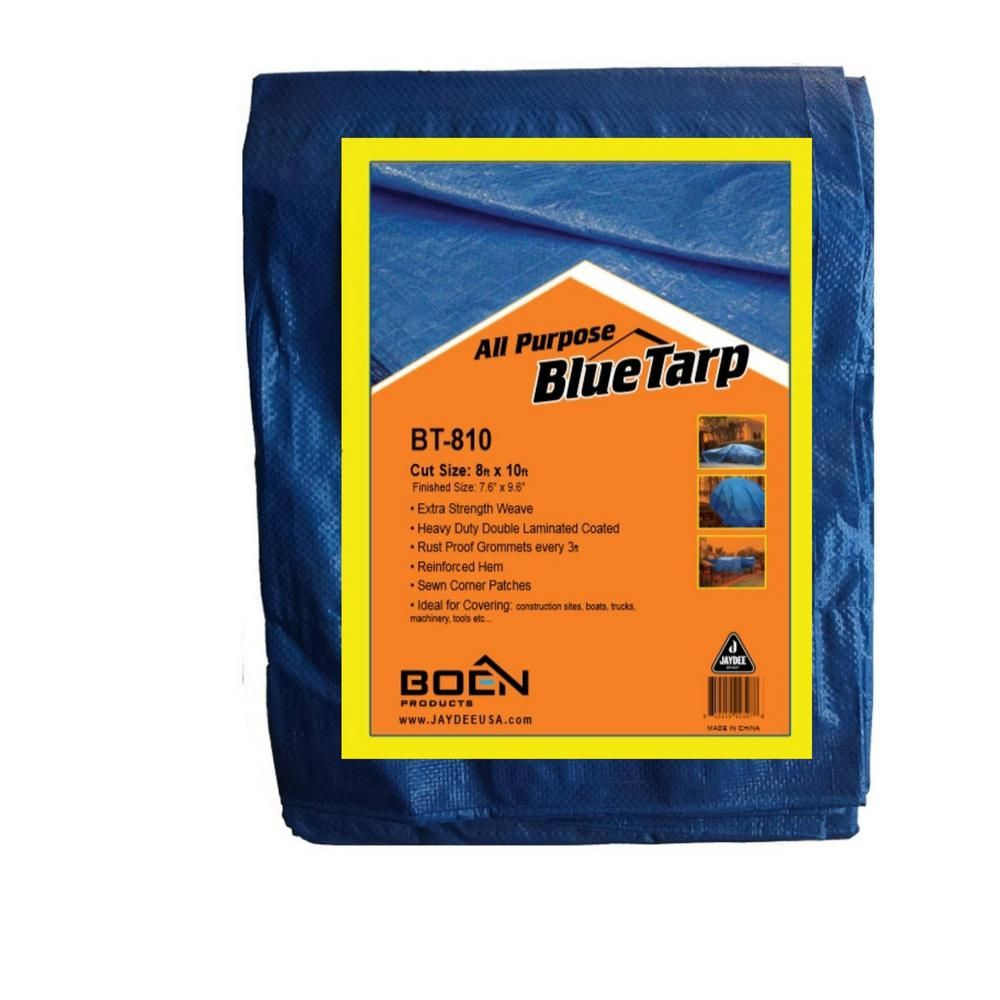 BOEN 8 ft. X 10 ft. Blue Tarp MultiPurpose Waterproof