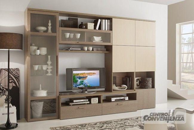 Parete soggiorno moderna, colore larice grigio, con ante beige ...
