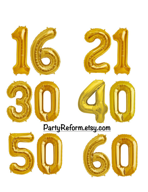 Milestone Number Balloons 16 Or 34 Foil GOLD SILVER 16th 21st 30th 40th 50th 60th Se