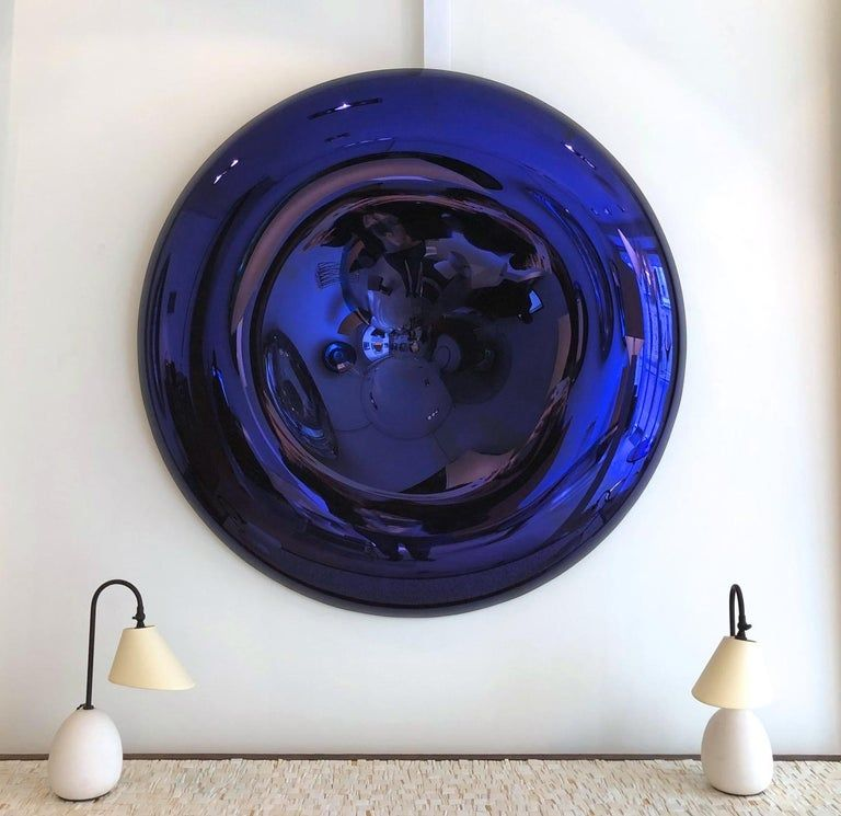 Large Convex And Concave Midnight Blue Mirror By Christophe