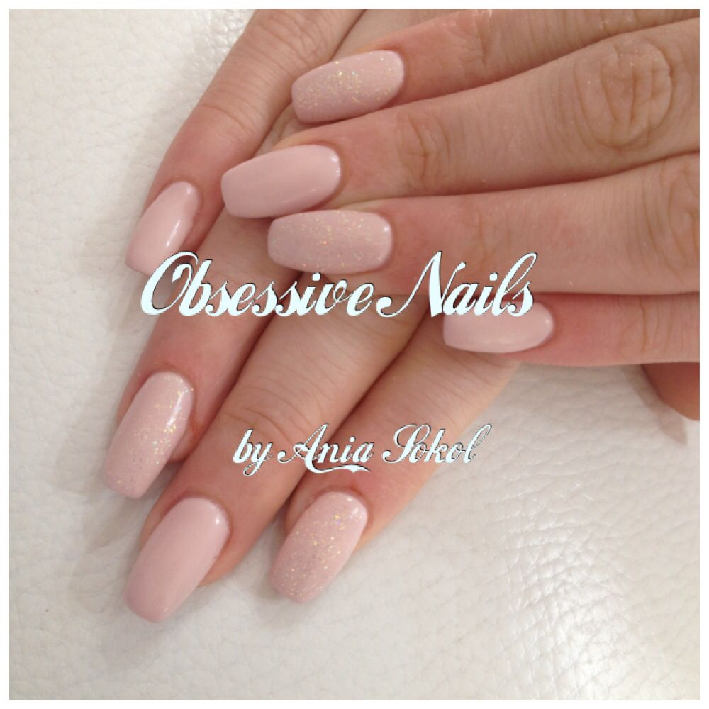 Creamy Nude Nails Narrow Shape with Glitter   NUDE NAILS BY ANIA ...