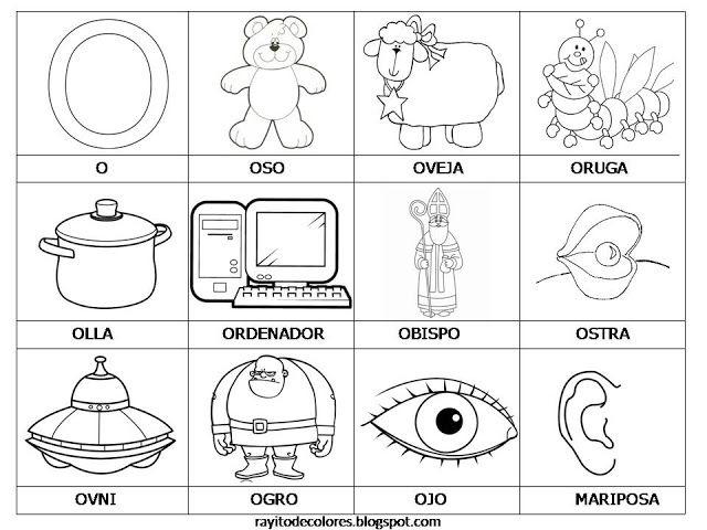 Cosquillitas En La Panza Blogs Abecedario Con Objetos Vocales Para Colorear Abecedario Para Ninos Vocal E