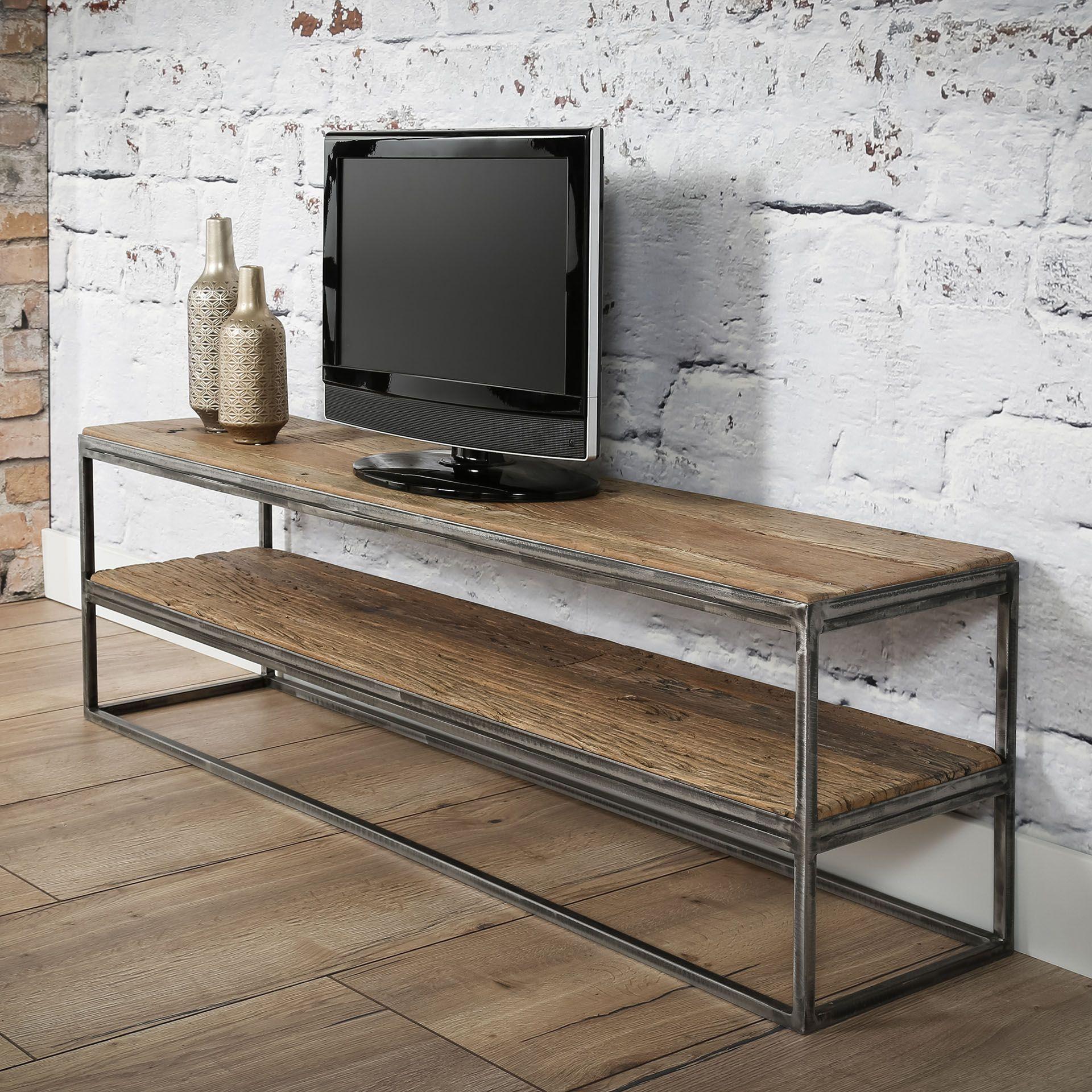meuble tv bois brut recycle metal omsk