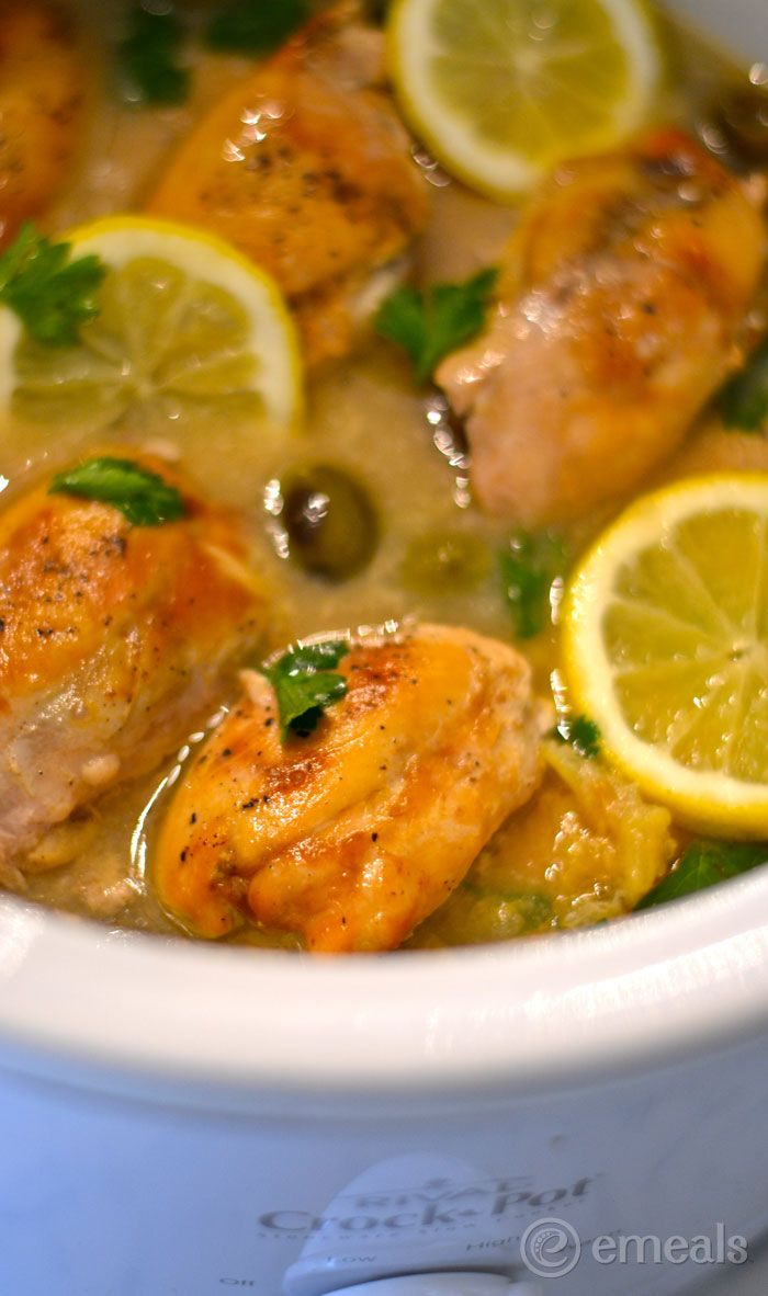 Slow Cooker Clean Eating Meal Plan: Lemon Chicken Thighs With Olives
