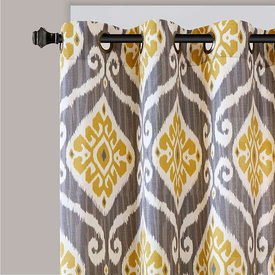 Madison Park Mika Ikat Light Filtering Grommet Top Curtain Panel