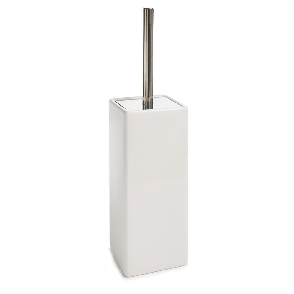 Toilet Brush with Chrome Handle White | Brush holders, Toilet and Chrome