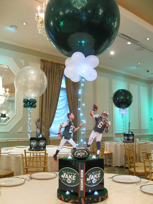 Pin By Balloon Artistry Event Desig On Jets Themed Bar Mitzvah Bar Mitzvah Centerpieces Sports Themed Centerpieces Mitzvah Centerpieces