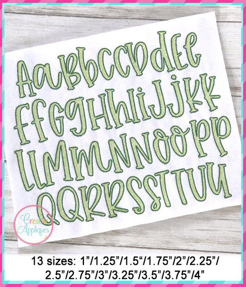 13 Sizes Farmhouse Lemonade Sketch Embroidery Alphabet