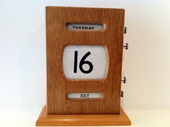 Perpetual Calendar Art Deco : Vintage art deco wooden perpetual calendar by