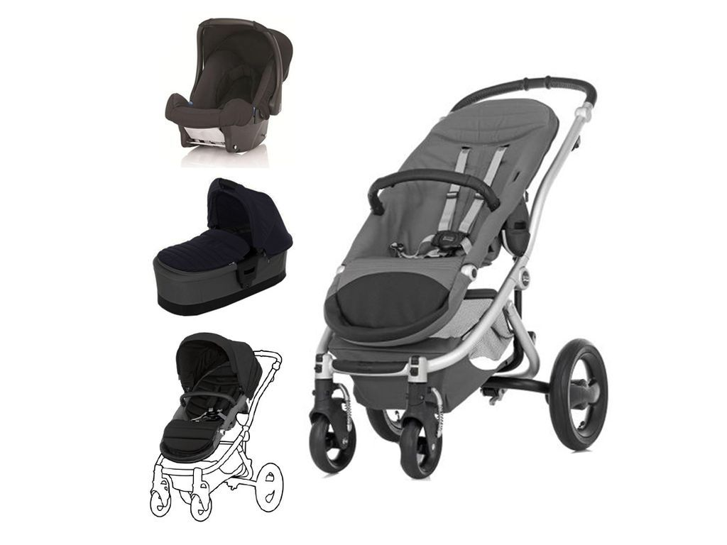 Britax Affinity 2 Travel System In Black Thunder With Silver Chassis