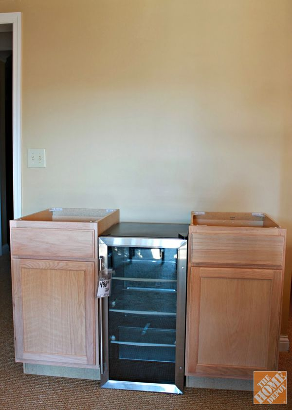 Diy Beverage Station The Home Depot Base Cabinets Bars For Home Beverage Cooler