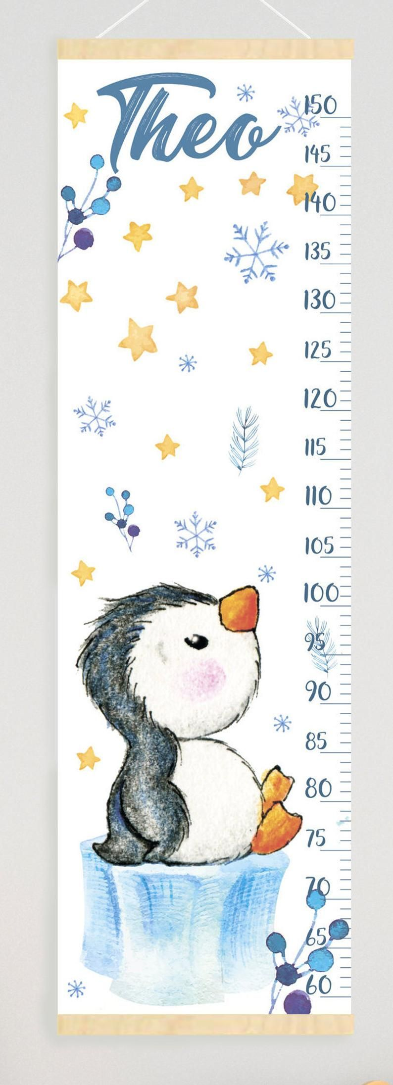 Cute Penguin Growth Chart Personalized Canvas Height Chart Etsy In 2020 Cute Penguins Growth Chart Personalised Canvas