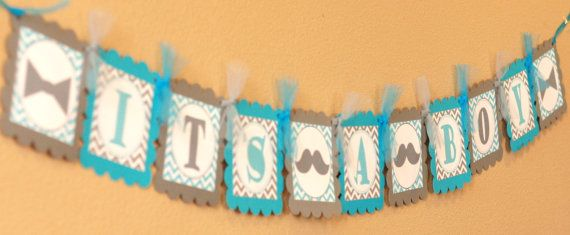 It's a Boy Mustache and Bowtie Chevron by EmeraldCityPaperie, $24.00