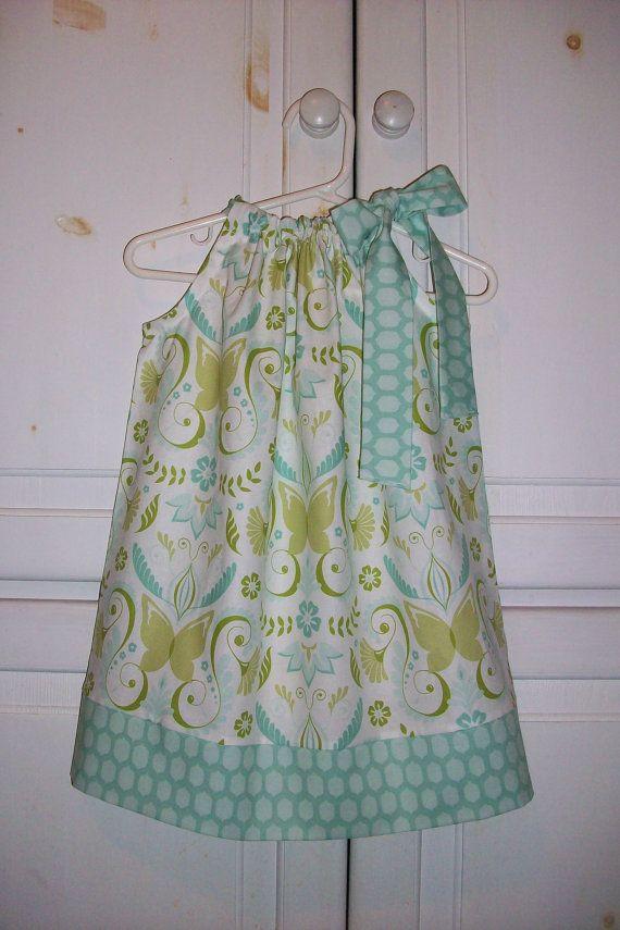 Pillowcase Dress with Butterflies Blue Dress Bella Butterfly Dress ...