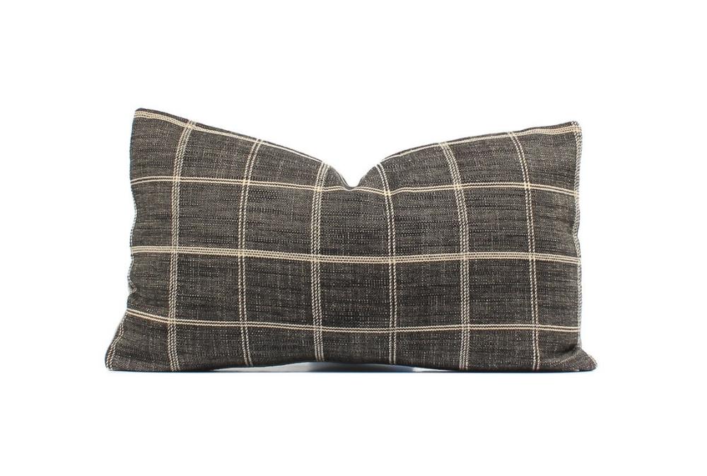 Plaid Boho Pillow Cover, Gray, Natural, SKU020610