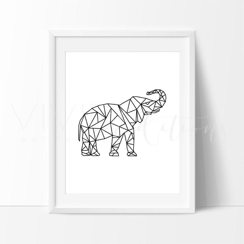Elephant Nursery Wall Decor poly geometric elephant nursery art print wall decor | chambre