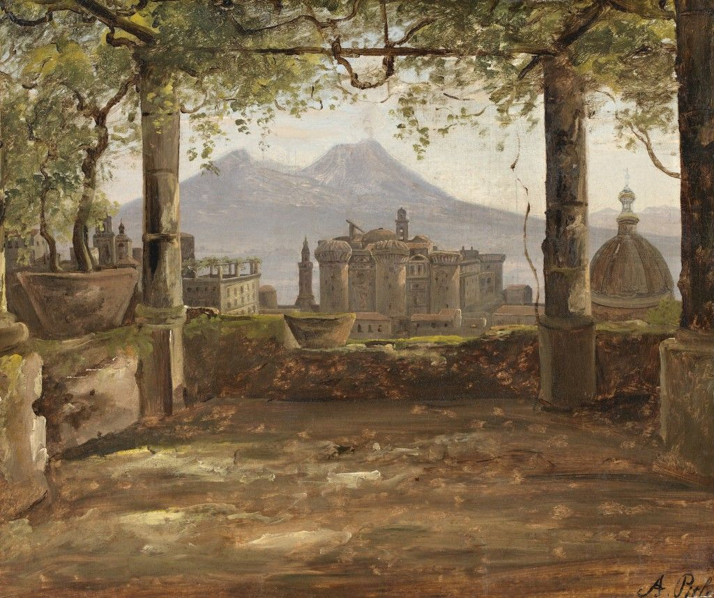 Pitloo View of the Castel Nuovo and Vesuvius from a