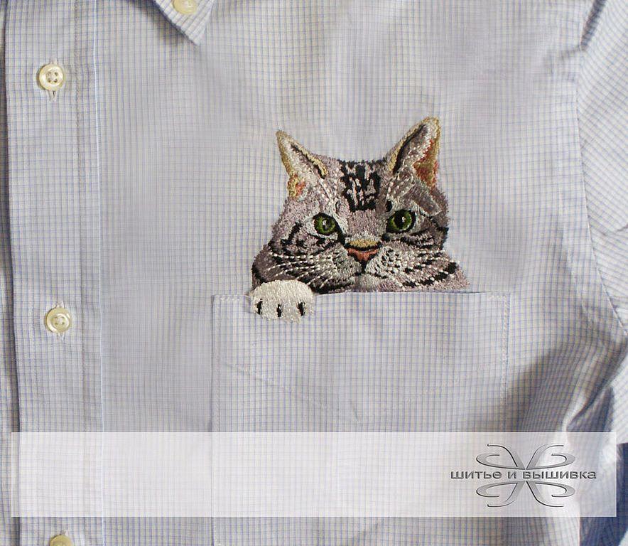 Купить Мужская рубашка с вышивкой Кот - вышивка 4be3491468794