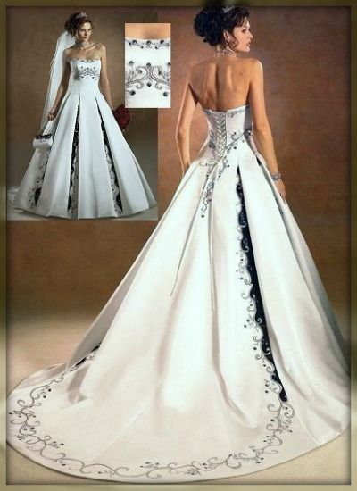 Black and white wedding dress with embroidered pleats and accents