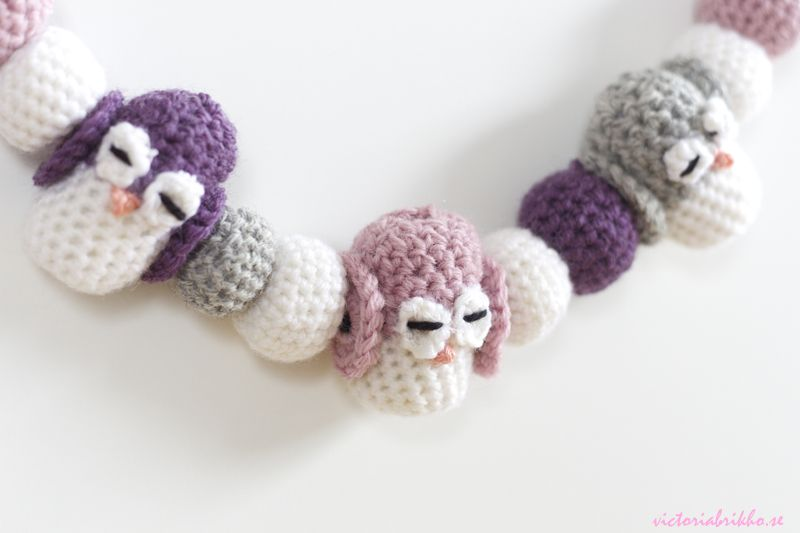 Crocheted Baby Pram Mobile - Cute Little Owls - Link for the pattern ...