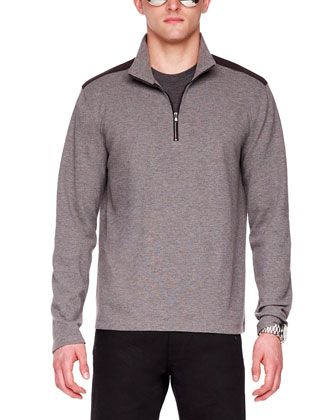 Nylon-Trim Melange Knit Zip Pullover by Michael Kors at Neiman Marcus.
