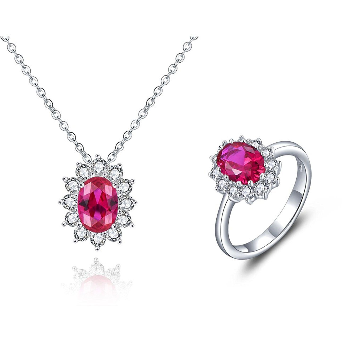 Yl sterling silver created ruby cubic zirconia jewelry set including