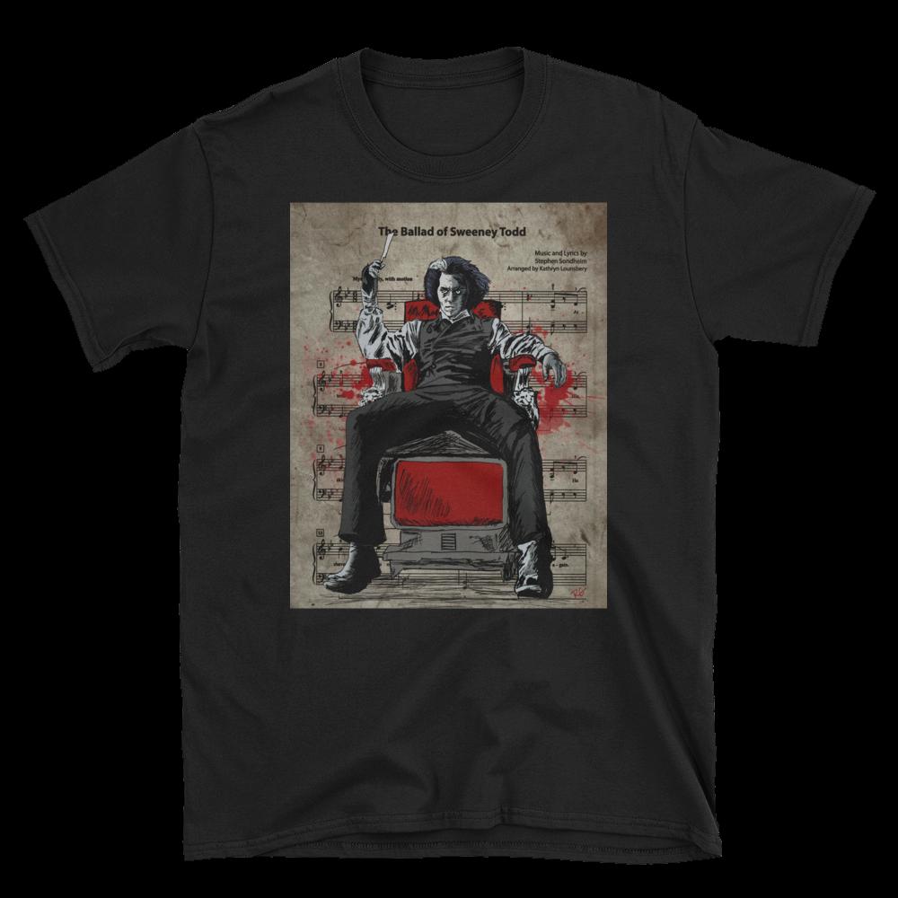 Sweeney Todd Johnny Depp Demon Barber Of Fleet Street Music Sheet Short Sleeve Unisex T Shirt Shirts Sweeney Todd Fleet Street