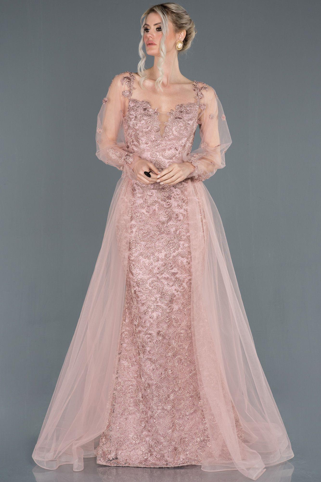 Pudra Gupur Islemeli Kuyruk Detayli Nisan Elbisesi Abu1195 2020 The Dress Elbise Elbise Modelleri