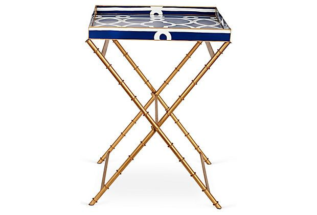 22 Ming Square Tray Table Navy On Onekingslane Com Tray Table Home Bar Designs Table