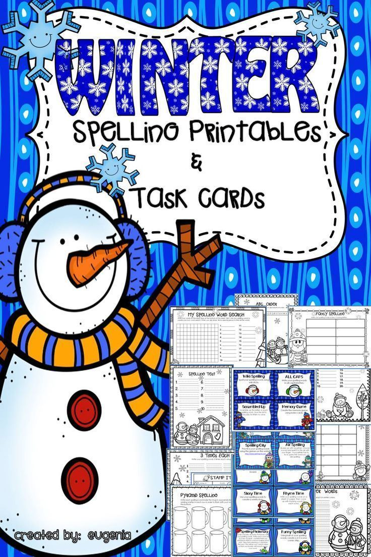 Winter themed Spelling printables (20) and 24 Task Cards! This is sure to make spelling practice fun! Your kids will love this!