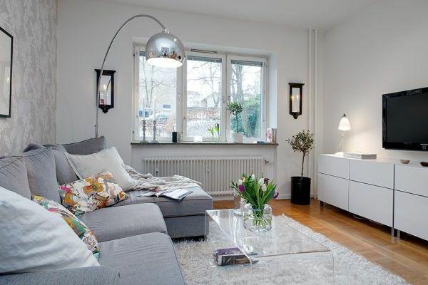 Einzimmerwohnung Einrichten Graues Sofa 600x400 Pixel