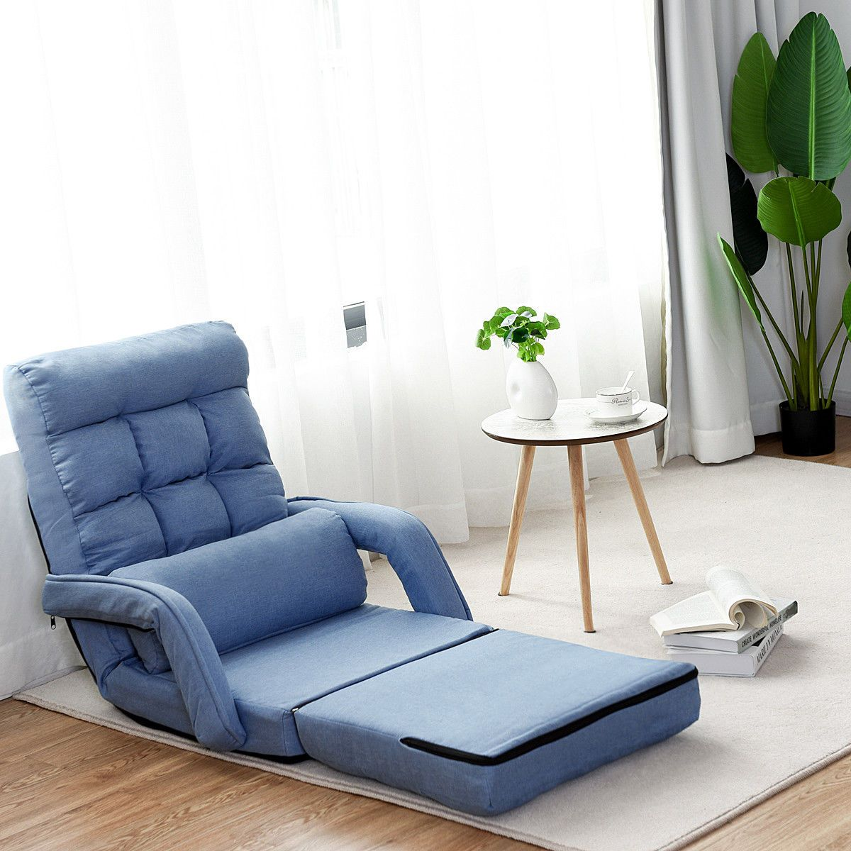 Blue folding lazy sofa floor chair sofa lounger bed with armrests