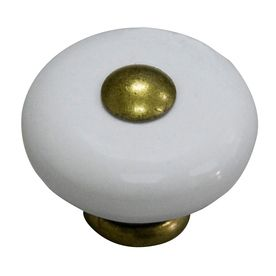 Wonderful Style Selections Antique Brass/Porcelain White Round Cabinet Knob