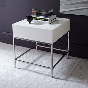 West Elm West Elm Storage Side Table, White Lacquer   Accent Tables   Coffee  Tables   End Tables
