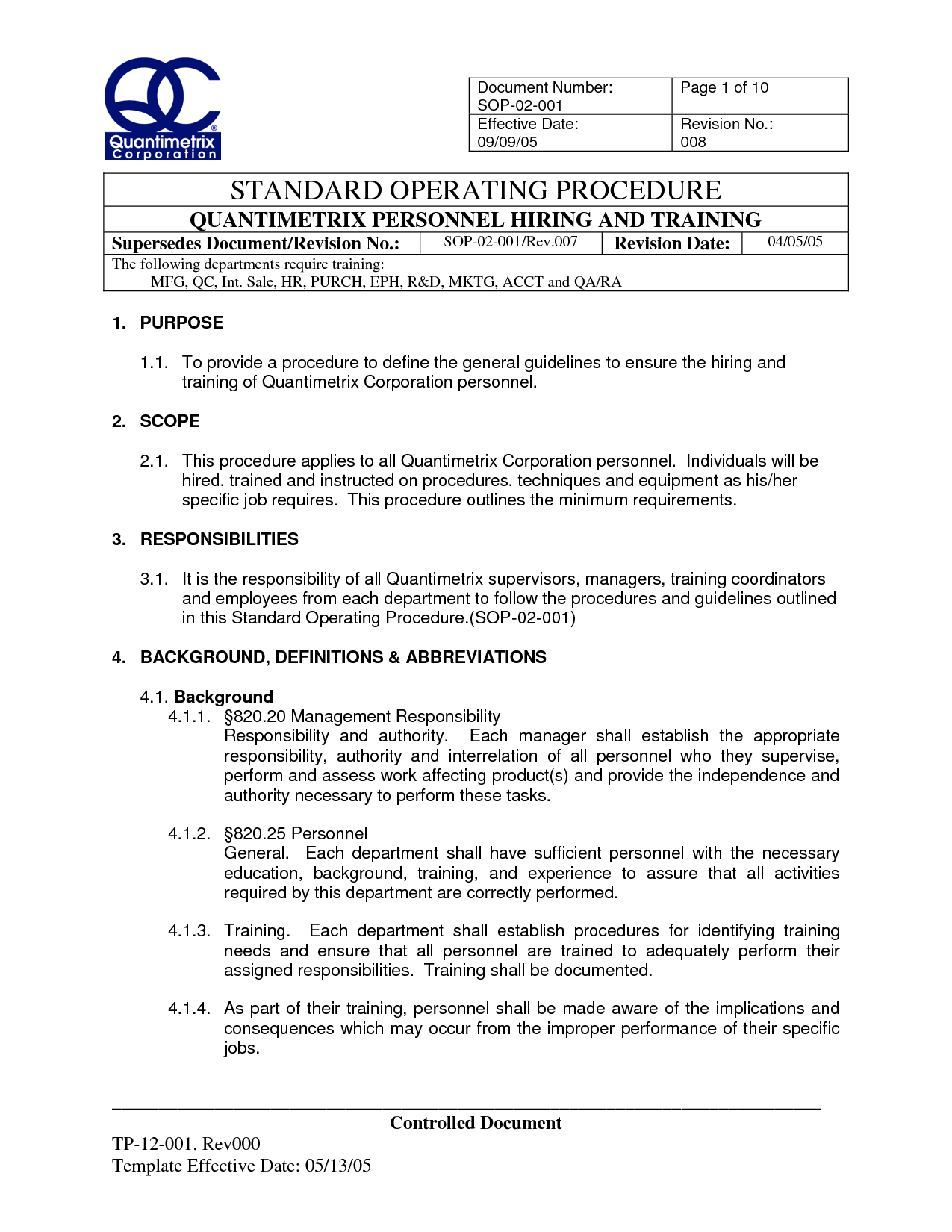 ISO Standard Operating Procedures Template | SOP 02 001 Rev.008 Personnel  Hiring  Procedure Templates