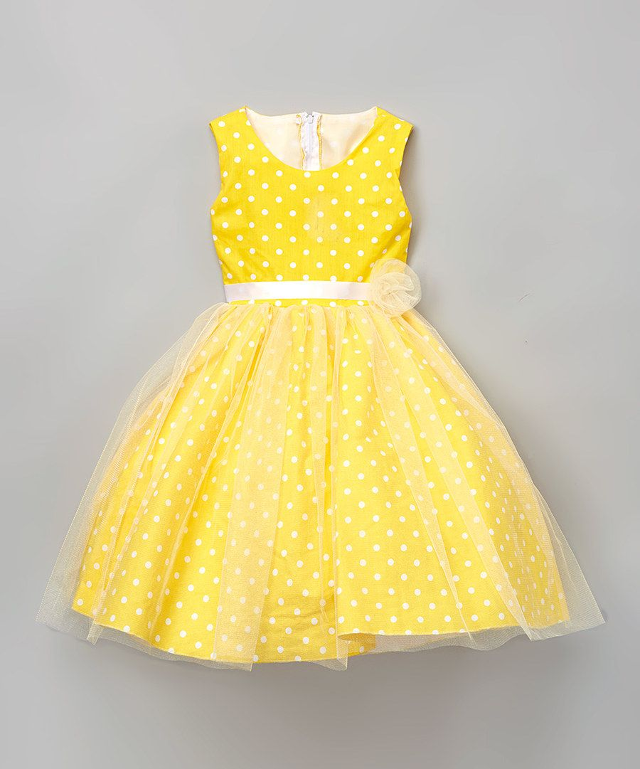 Yellow Polka Dot A Line Dress Infant, Toddler & Girls