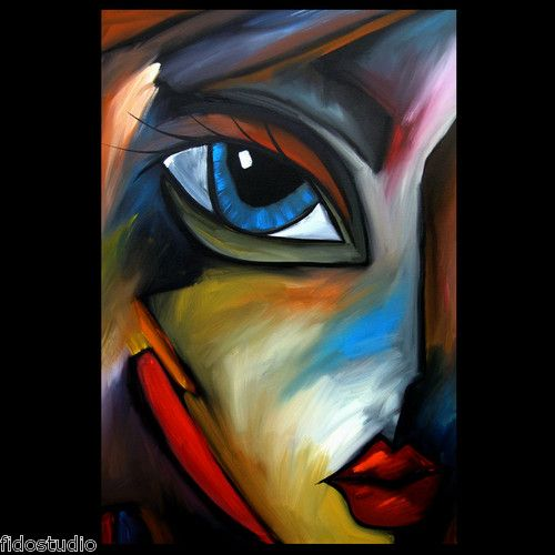 WEATHERED Original Abstract Painting Modern Art Urban Face Print by Fidostudio
