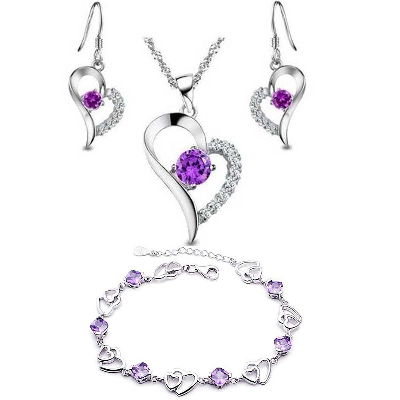 Collier Améthyste Set Argent sterling Boucles d/'oreilles Boucle d/'oreille et 3 diamant argent 925