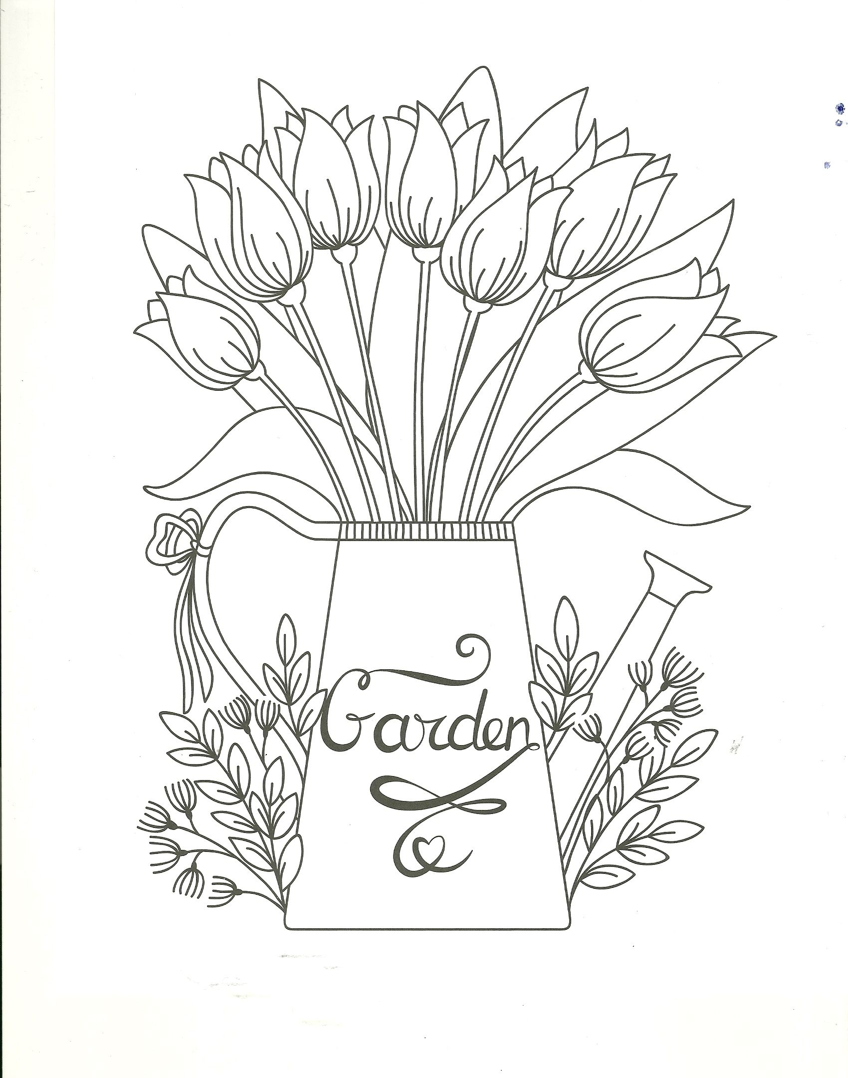 Garden Watering Can Floral Coloring Page Cool Coloring Pages Coloring Pages Embroidery Patterns