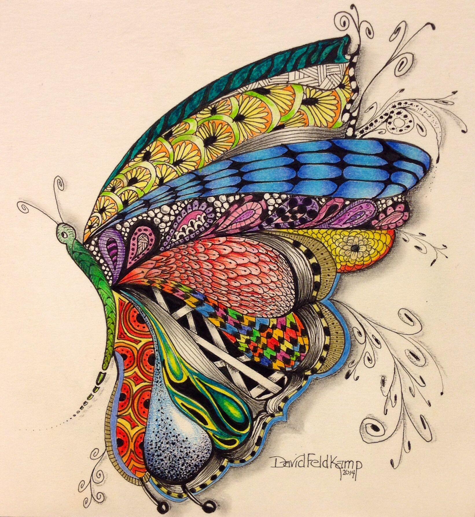 Zen doodle colour - Colored Butterfly Zentangle Drawing By David Feldkamp