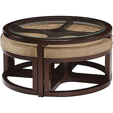 Jcp Cambria Glass Top Round Coffee Table With Upholstered Nesting