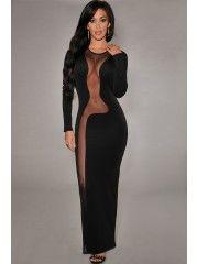 Round Neck Long Sleeve Lace Evening Dress