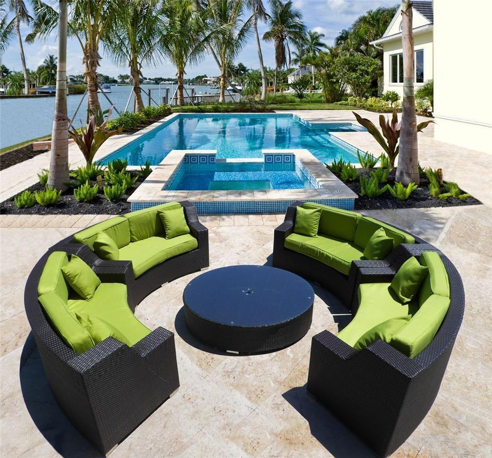 Giant Solange Round Outdoor Wicker Sectional Sofa Patio Furniture In