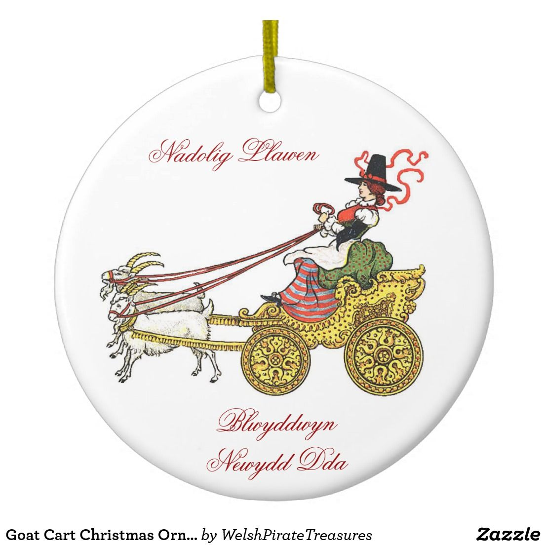 goat cart christmas ornament