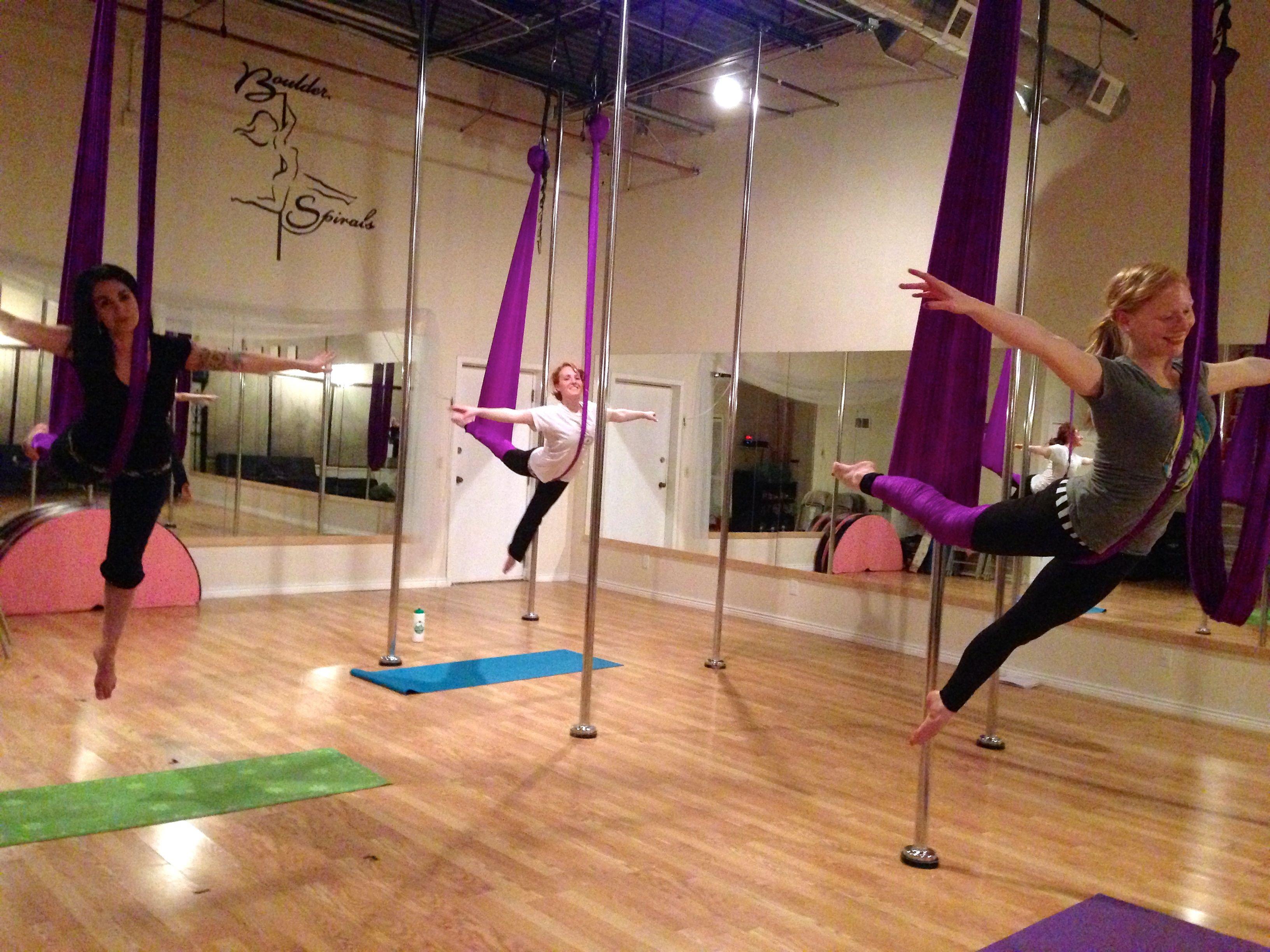 Fun in Aerial Yoga at Boulder Spirals Aerial yoga, Air