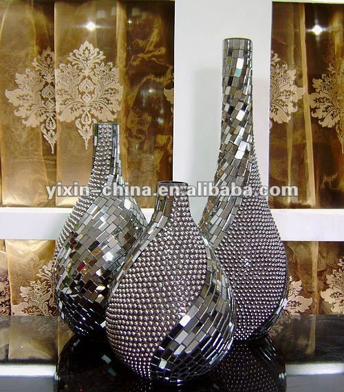 Handmade Acrylics Beads Mirrored Glass Mosaic Vase Photo