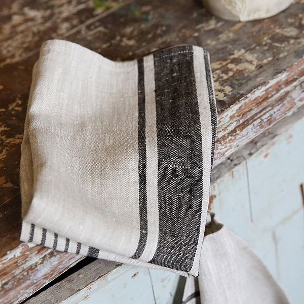 63090b0e97 Highest quality Set of 2 Natural Black Striped Linen Tea Towels Provence  from LinenMe shows elegance