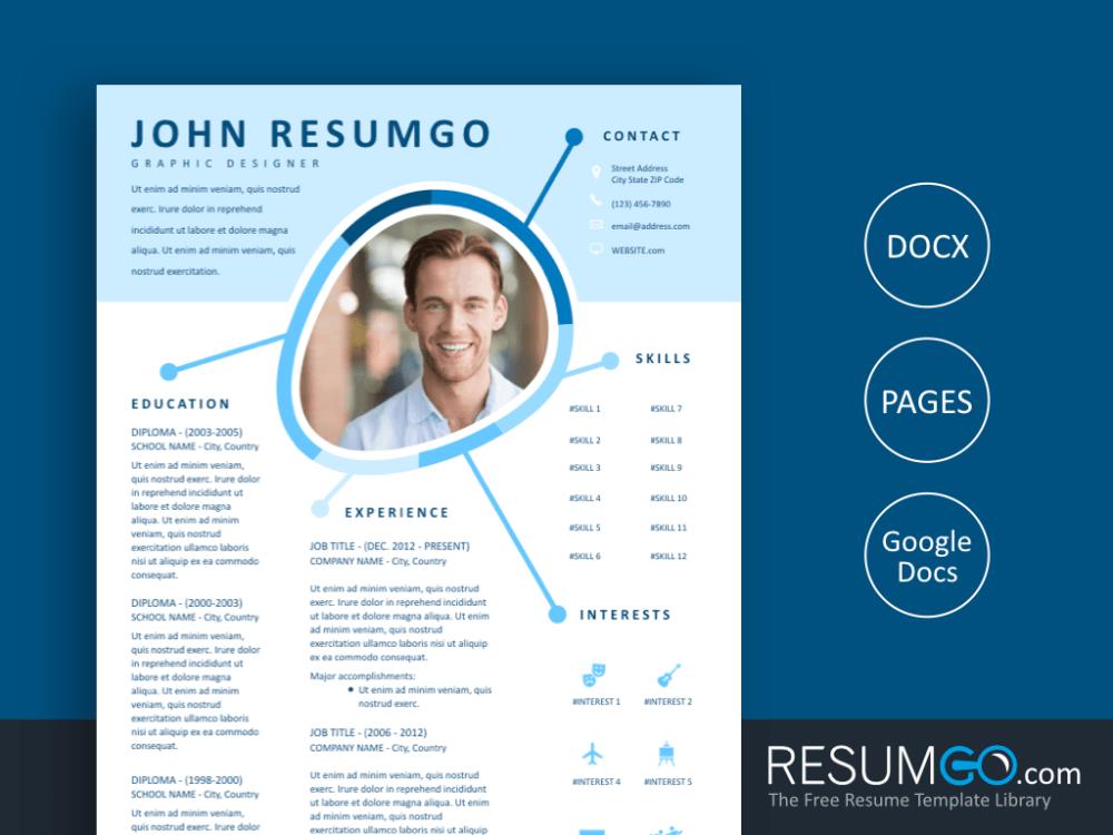 Iris Blue Creative Resume Template Resumgo Com Creative Resume Templates Creative Resume Resume Template